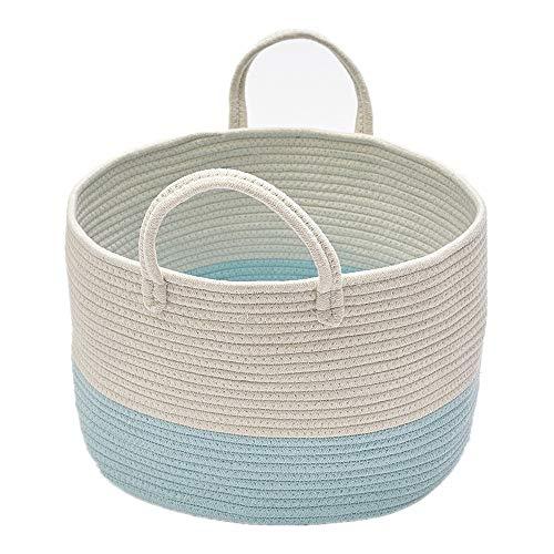 Zinsale Cuerda de algodón Cestos para la Colada Pom Pom Robusta Lavable Cesto de lavandería Juguetes para bebés Cesta de Almacenamiento de contenedores con asa (Azul)