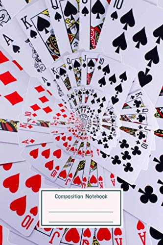 Composition Notebook: Poker Royal Flush Playing Cards All Suits Droste Spiral for School & College for Writing and Notes