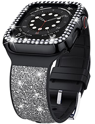 VEGO Bling Band Compatible with Apple Watch Band 42mm for Women + Rhinestone Diamond Case, Glitter Bracelet Wristband Strap with Bling Bumper Protective Cover for iWatch Series 3/2/1 (Black 42mm)