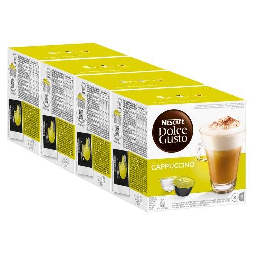 Nescafé Dolce Gusto Cappuccino, Kaffee, Kaffekapsel, 4er Pack, 4 x 16 Kapseln (32 Portionen)