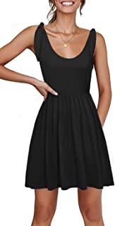 Women's Short Casual Dress Tie-Strap Empire Waist Loose Sundress with Pockets