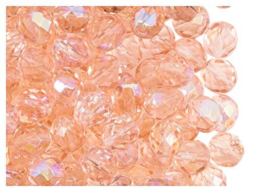 25 pcs Tchèque facettes perles de verre, Fire-Polished ronde 8 mm, B491 Rosaline AB