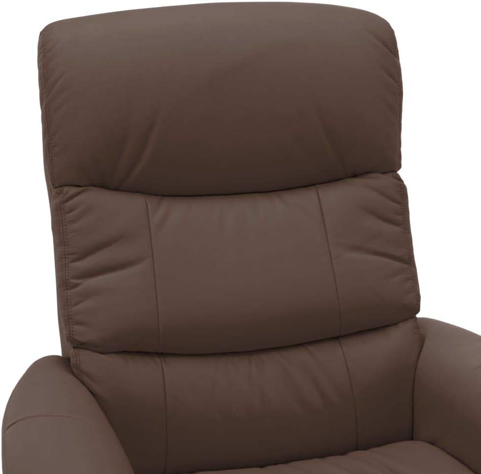 VidaXL Fauteuil de relaxation en bois avec repose-pieds en cuir synthétique Noir Marron