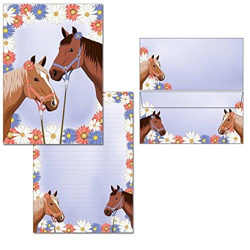 zwei Pferde - 1 Schreibblock DIN A4 mit Linien + 15 Briefumschläge DIN lang 7300+6113F
