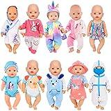 ebuddy 10 Sets Puppenkleidungszubehör für 43 cm Neugeborene Babypuppen umfassen Strampler im Cartoon-Stil, Kleid, Nachthemd, Doktor-Outfit, Bikini und Hut