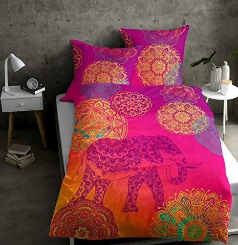sister s. Renforcé-Bettwäsche Noida absolut hip Mandalas Ornamente Glücks-Elefant orientalische Farbenpracht,violett-türkis-orange, 155x220 cm