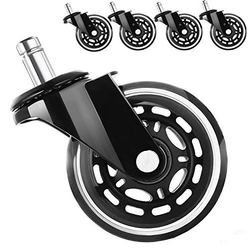Juego de 5 ruedas para silla de oficina de LEBENSWERT, 10 mm/11 mm x 22 mm, ruedas premium para parqué laminado, muy silenciosas, silla de oficina, color blanco y negro (diámetro: 50 mm)