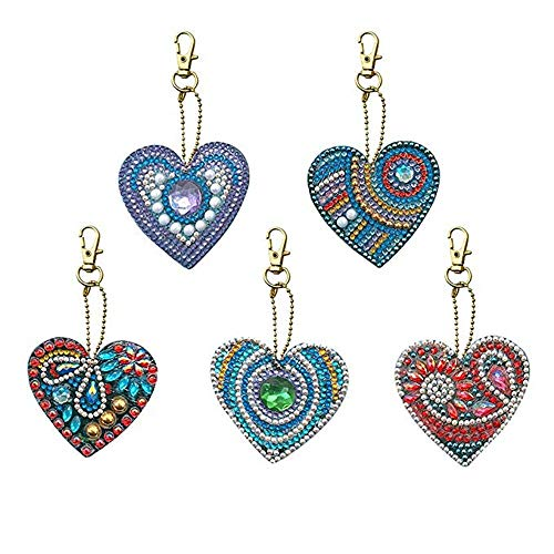 CRPSEN 5 Pack DIY 5D Diamond Painting Keychain Round Drill Heart Keyring Crystal Rhinestone Bag Cross Stitch Mosaic Arts Craft Paint by Number Kits for Kids Adults