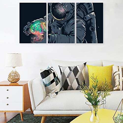 Astronaut NASA Space Jellyfish Canvas Wall Art Unframed Posters Prints Funny Canvas Artwork for Men and Women 3Pcs/Set Artwork white 12x16