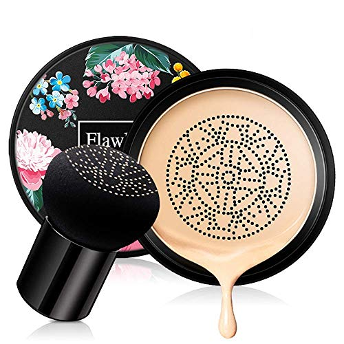 Mushroom Head Air Cushion BB Cream, Concealer Lasting Nude Makeup Moisturizing Brightening Pigment CC Liquid Foundation, Even Skin Tone Makeup Base Primer Perfect Christmas gift (Natural)