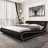 Amolife Modern Full Size Bed Frame with Adjustable Headboard,Upholstered Faux Leather Platform Bed with 24 Wooden Slats,No Box Spring Needed, Speaker Space,Black