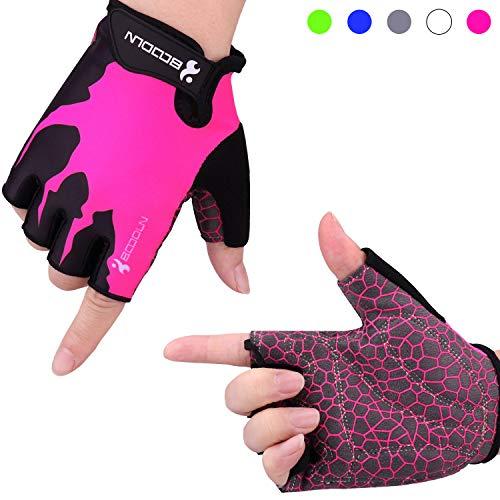 Fahrradhandschuhe Radsporthandschuhe Rutschfeste und stoßdämpfende Mountainbike Handschuhe mit Signalfarbe geeiget Unisex Herren Damen (Rosa, M)