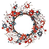 Skrantun 18 Inch 4th of July Wreath Independent Day Wreath for Front Door with Wood Star National Flag Decorations