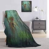 Toopeek - Manta para niños con diseño de sirena y caballito de mar con diseño de fantasía de cuento de hadas mágico, ligera, suave, cálida y cómoda, de 70 x 90 pulgadas, color verde aguamarina