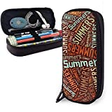 Summers American Surname High Capacity Leather Pencil Case Pencil Pen Holder Large Storage Pouch Box Organizer...