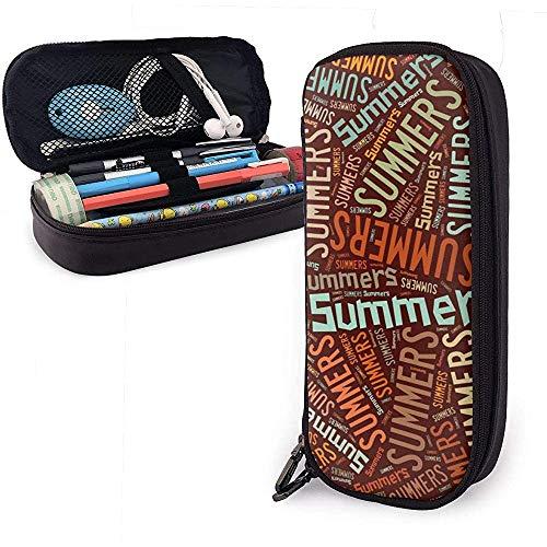 Summers American Apellido Funda de cuero de alta capacidad Estuche de lápices Estuche de lápices Bolso de almacenamiento grande Organizador de caja Bolígrafo de maquillaje escolar Bolso de estudiante