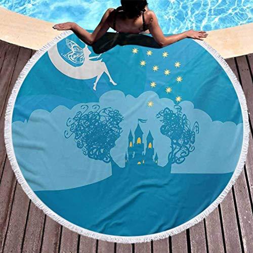 Serviette De Plage Ronde Filles Grande Serviette De Piscine Magical Fairy Tale Princess Castle avec Female Pixie Assis sur Crescent Moon Dreamy Use for Kids Women Men Boy Girl Blue White (Diameter 59