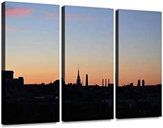 YKing1 Silhouette of Boston Skyline Wall Art Painting Pictures Print On Canvas Stretched & Framed Artworks Modern Hanging Posters Home Decor 3PANEL