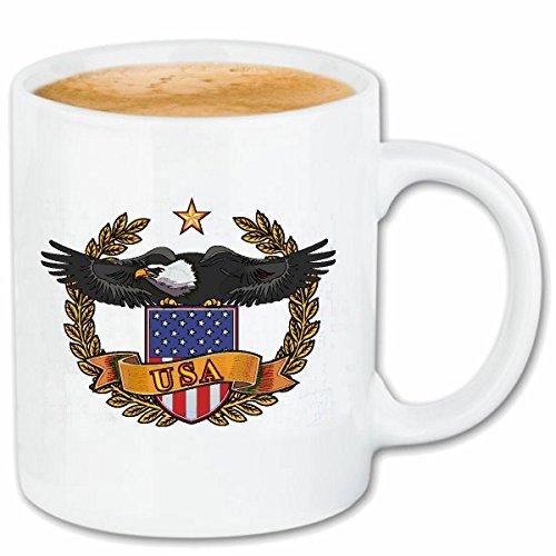 Reifen-Markt Kaffeetasse USA Flagge MIT Adler Geier Geier GREIFVOGEL RAUBVOGEL STEINADLER GREIFVOGEL WEISSKOPFSEEADLER Keramik 330 ml in Weiß