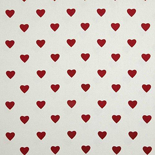 HOMESCAPES – Tissu en Pur Coton – Petits Coeurs – Rouge – 150 cm Largeur – Imprimé - Approprié pour la Fabrication des Rideaux et des Tapis et Tissus d'Ameublement
