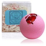 Night of Romance Giant XXLG 12 Ounce Fizzy Bath Bomb Featuring Rose Scent and Real Dried Rose Petals by Cottage Lane
