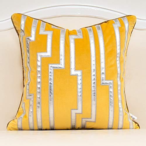 Alerfa Fundas de cojín de 50 x 50 cm, diseño geométrico de color amarillo y plateado con rayas de cuero europeo de lujo, fundas de almohada decorativas para sofá, salón, dormitorio, coche, 50 x 50 cm