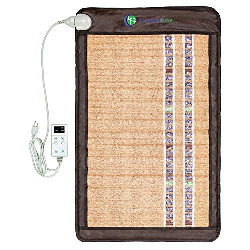 """HealthyLine Far Infrared Heating Pad - 40"""" x 24"""" Soft Mat Filled with Amethyst, Tourmaline and Jade Crystals - Negative Ion Therapy, EMF Blocking, Pain Relief – Inframat Pro®"""