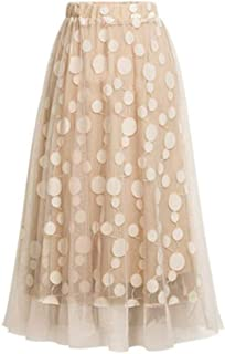 Women's High Waist Mid Calf Skirt - Casual Retro Elastic Dot Print Pleated Tulle Mesh Double Layer Slim Skirts