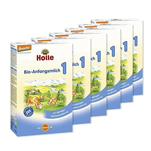 6x Holle Bio Bébé Lait alimentaire 1–6x 400g de poudre–Avantage Paquet