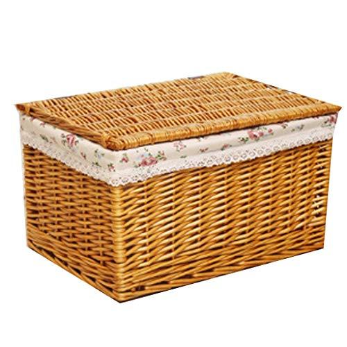 La caja de almacenamiento de mimbre de la cesta del almacenamiento con la tapa, cajón de la caja de almacenamiento de la rota viste la caja de almacenamiento del juguete