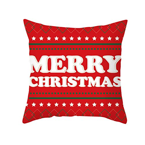 Christmas Cushion Covers,Red Santa Claus Tree Christmas Cushion Cover Merry Christmas Decorations For Home Ornament Table Decor Xmas Gift New Year Sofa Bed Throw Cushion Cover Decoration (18&Quot; X