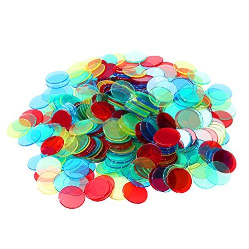 Tomaibaby 400Pcs 4 Farben 3/4 Zoll Pro Kunststoff Magnetische Bingo-Chips Transparente Farbzählung Chips Bingo-Spiel Marker für Bingo-Karten Klassenzimmer Karneval Bingo-Spiele