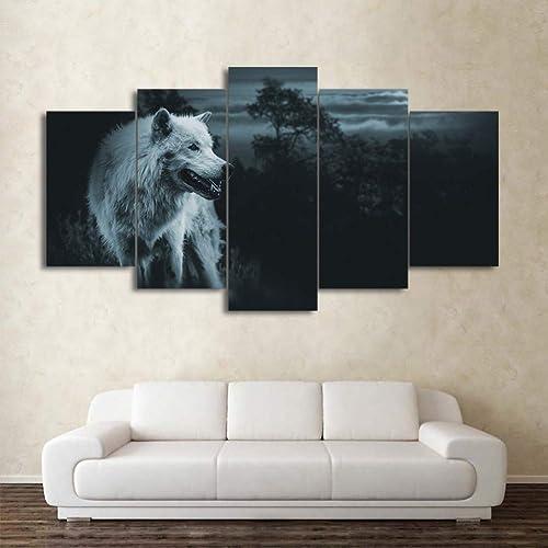 descuento de bajo precio Giow HD Print Canvas Pintura Home Decorativo Marco Marco Marco Modular Imagen 5 Panel Lobos Animales Wall Art Print Panel Poster para la Sala de Estar  nueva gama alta exclusiva