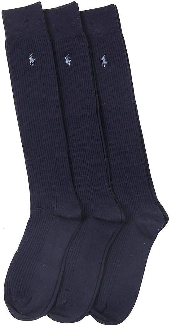 Polo Ralph Lauren 3 Pack Microfiber Rib Over the Calf Dress Men's Socks