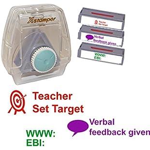 3 Message Teacher Marking Stamp - Artline Xstamper 3-in-1 Complete with Holder and Teacher Set Target, WWW EBI, Verbal Feedback Given Marking and Feedback Stamps