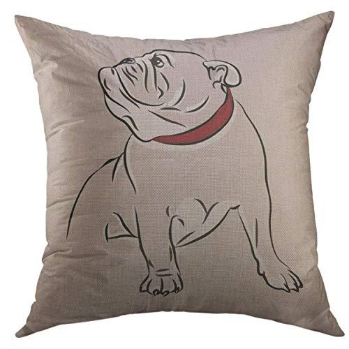 DD Decorative Funda de Almohada para Cachorro de Bulldog inglés, Color Negro, marrón, Blanco, Cuadrada, Funda de Almohada para Hombres, Mujeres, niños, Funda de cojín de 18 x 18 Pulgadas