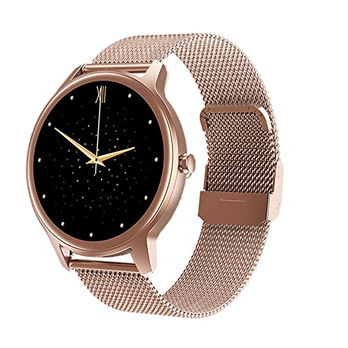 V2A Bold 1.2 Inch True Round Rose Gold Smart Watch Fitness Health Tracker for Women and Girls 3-5 Days Battery Life Compatible with Android 4.4, iOS 9.0 and Above_IP67 (Mesh-Gold)