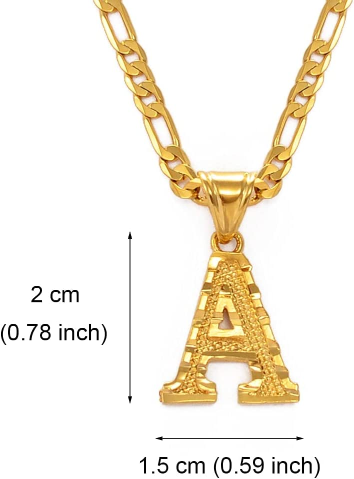 A-Z Letters Pendant Necklaces for Women Men Girls English Initial Alphabet Figaro Chains Gold Color Jewelry 45cm