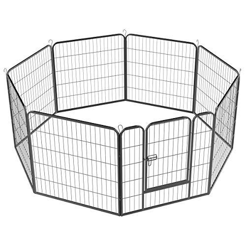 Yaheetech Recinto per Cani Cuccioli Coniglio da Interno Esterno Giardino Balcone 8 Pannelli 80 x 80 cm Nero