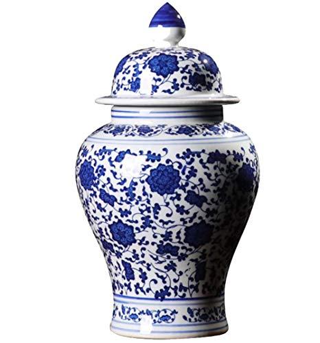 Jingdezhen Classic Blue und White Porzellan Classic Temple Ginger Jar Vase Keramik Blumenvasen, China Ming Style, Höhe 38 cm,A