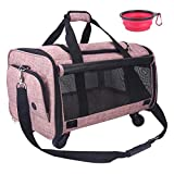NOYAL Pet Carrier Airline Approved, Soft-Sided Dog Travel Carriers with Removable Wheels Perfect for Cats Pups & Small Animals (20.5' L × 13' W × 11' H)