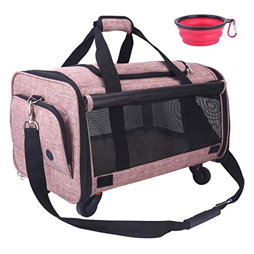 "NOYAL Pet Carrier Airline Approved, Soft-Sided Dog Travel Carriers with Removable Wheels Perfect for Cats Pups & Small Animals (20.5"" L × 13"" W × 11"" H)"