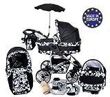 Twing - 3 in 1 Reisesystem einschließlich Kinderwagen mit schwenkbaren Rädern, Kinderautositz, Buggy und Zubehör - Schwarz-weiße Blumen