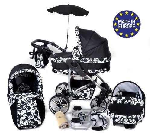 Twing - 3-in-1 Travel System con carrozzina, seggiolino auto, passeggino sportivo e accessori CON RUOTE GIREVOLI … (3-in-1 Travel System, fiori neri, bianchi)