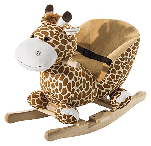 HOMCOM Schaukelpferd Schaukeltier Schaukelspielzeug Babyschaukel Kinder Spielzeug mit Lieder L60 x B33 x H45 cm