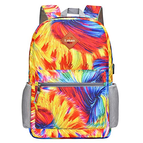 CoolBELL Backpack Casual Daypack Student Book Bag Water-Resistant Travel Backpack Multipurpose 15.6 Inches Laptop Backpack for Men/Women (Colorful Stripes)