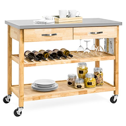 Natural Wood Kitchen Island Utility Cart with Stainless Steel Top