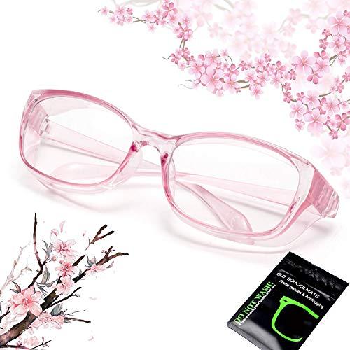 花粉 メガネ ゴーグル [ブルーライト 紫外線 粉塵 飛沫 にも対策 ] 目立たない 伊達めがね 曇らない レディース メンズ 眼鏡 花粉症 メガネ (ピンク)
