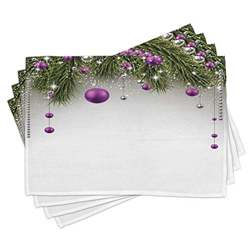 Ambesonne Christmas Place Mats Set of 4, Tree with Tinsel and Ball with Present Wrap Ribbon Celebration Picture, Washable Fabric Placemats for Dining Table, Standard Size, Purple Grey