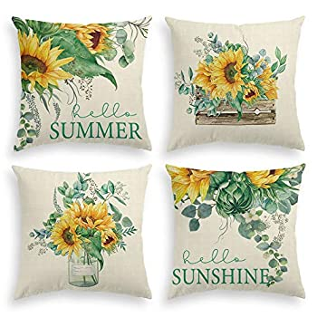 AVOIN Watercolor Sunflower Throw Pillow Cover 18 x 18 Inch Eucalyptus Leaves Summer Holiday Party Cushion Case for Sofa Couch Set of 4